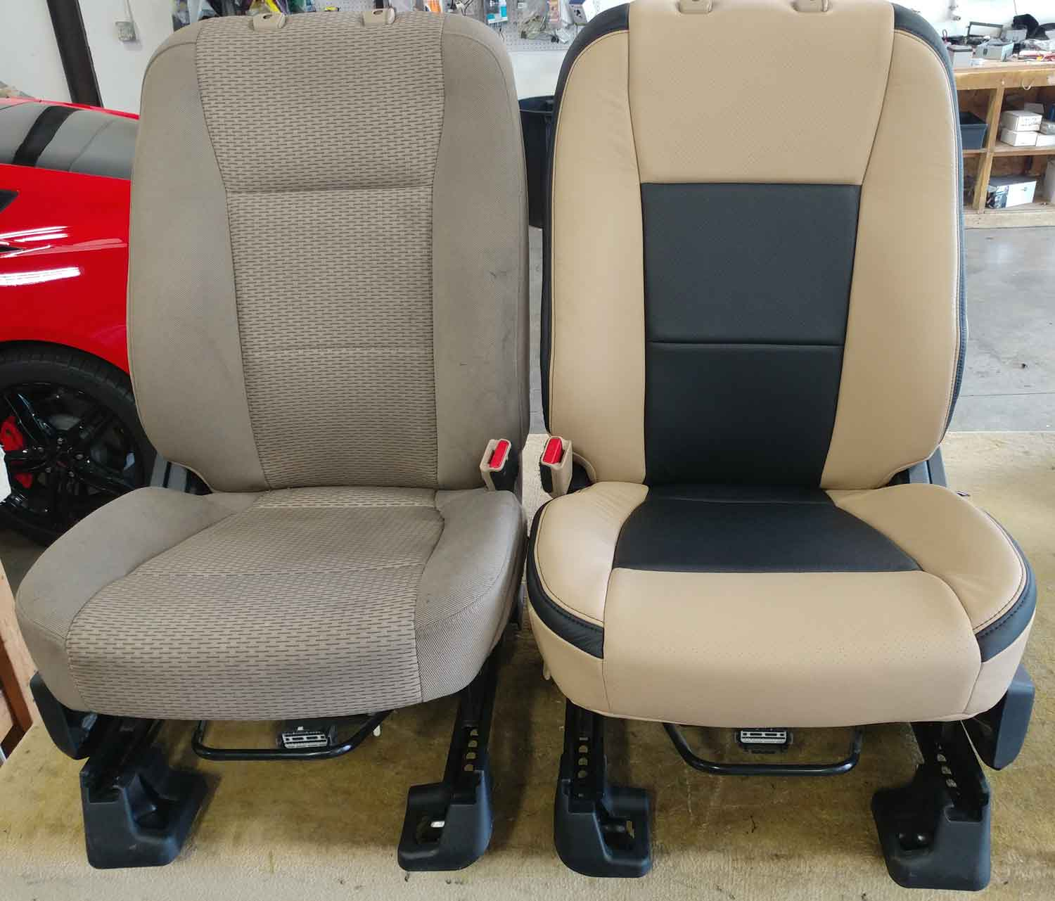 before and after leather seats